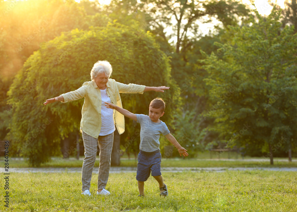 Fototapety, obrazy: Little boy and his grandmother having fun in park