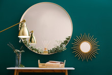 Round Mirror And Table With Ac...