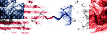 United States Of America Vs France, French Smoky Mystic Flags Placed Side By Side. Thick Colored Silky Abstract Smokes Banner Of America And France, French