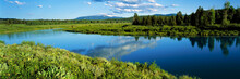 USA, Wyoming, Grand Teton NP. Oxbow Bend Of The Snake River In Grand Teton NP, Wyoming Resembles A Placid Lake