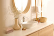 Leinwanddruck Bild - Modern bathroom interior with stylish mirror and vessel sink