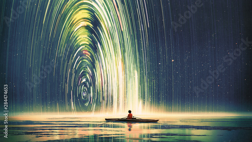 Foto op Plexiglas Grandfailure boy rowing a boat in the sea of the starry night with mysterious light, digital art style, illustration painting