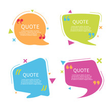 Quote Bubble Box Template With Text. Speech Bubble With Quote In Flat Style.Text Box With Frame. Geometric Template Sticker. Vector