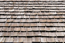 Background Of Shingle Aged Wooden Roof Detail.
