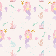 Cute Mermaid Seamless Pattern ...