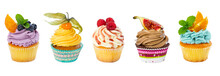 Set Of Different Cupcakes Isol...