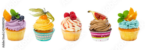 фотография Set of different cupcakes isolated on white
