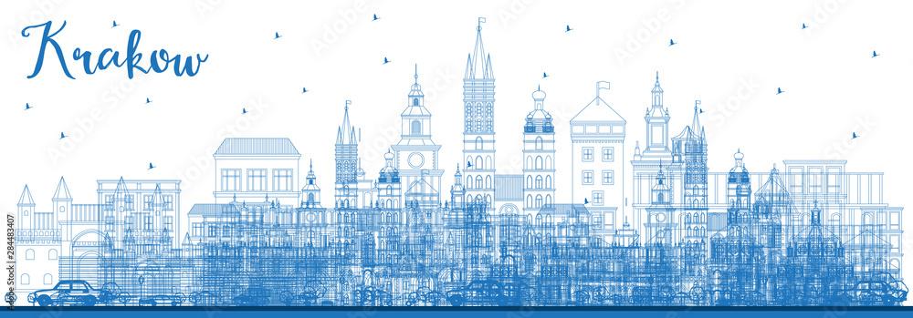 Obraz Outline Krakow Poland City Skyline with Blue Buildings. fototapeta, plakat