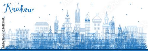 Fototapeta Outline Krakow Poland City Skyline with Blue Buildings. obraz