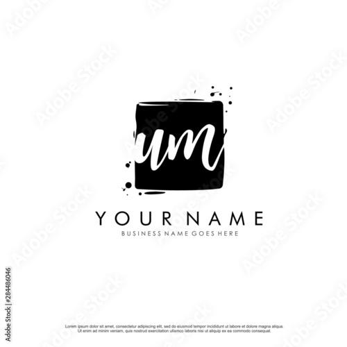 U M UM initial square logo template vector Canvas Print
