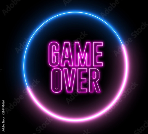 """Neon text of """"GAME OVER"""" inside neon, led swirling round"""