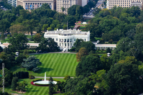 Photo Aerial view overlooking 1600 Pennsylvania Avenue, The White House & the South La