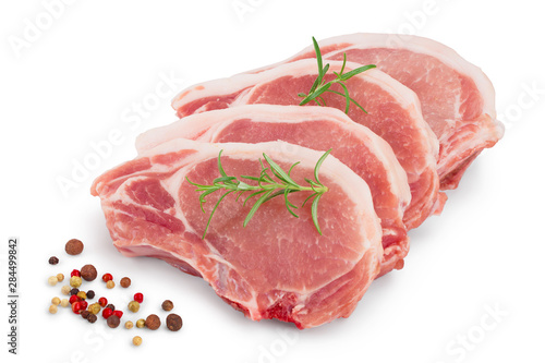 sliced raw pork meat with rosemary and peppercorn isolated on white background Wallpaper Mural