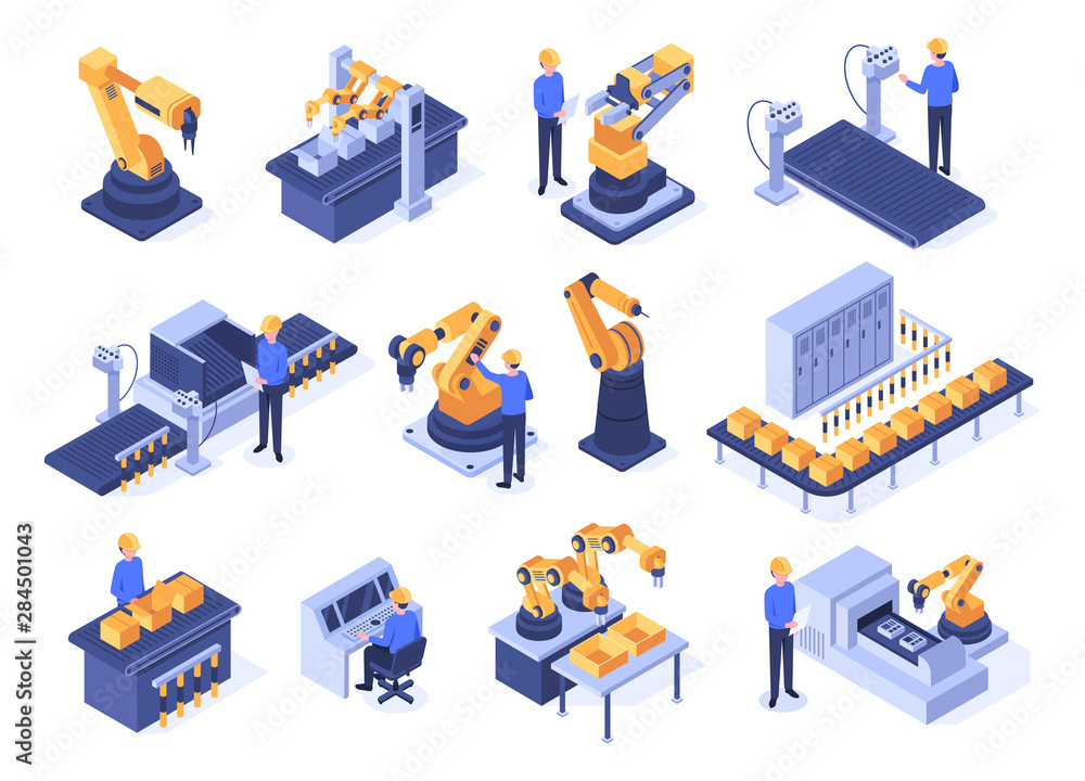 Fototapety, obrazy: Isometric industrial robots. Assembly line machines, robotic arms with engineer workers and manufacturing technologies. Mechanic industry factory scanner. Isolated 3d vector icons set