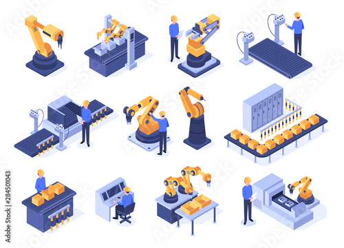Canvas Print Isometric industrial robots