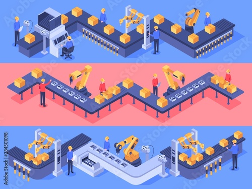 Cuadros en Lienzo Isometric industrial factory automated line