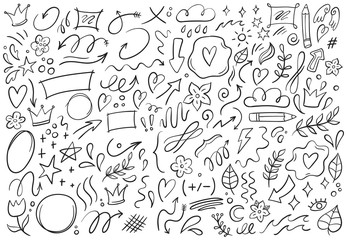 Decorative doodles. Hand drawn pointing arrow, outline shapes and doodle frames. Ink signs decoration ornament, line curved arrow, heart and circle sketch isolated vector illustration symbols set