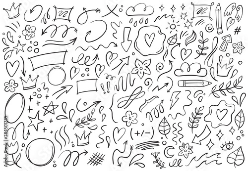 Obraz Decorative doodles. Hand drawn pointing arrow, outline shapes and doodle frames. Ink signs decoration ornament, line curved arrow, heart and circle sketch isolated vector illustration symbols set - fototapety do salonu