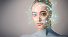 Realistic Woman Robot With Eye Scanner Of Human
