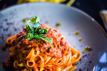 Delicious Italian Spaghetti Bolognese With Minced Beef Sauce, Tomatoes, Carrots & Fresh Basil
