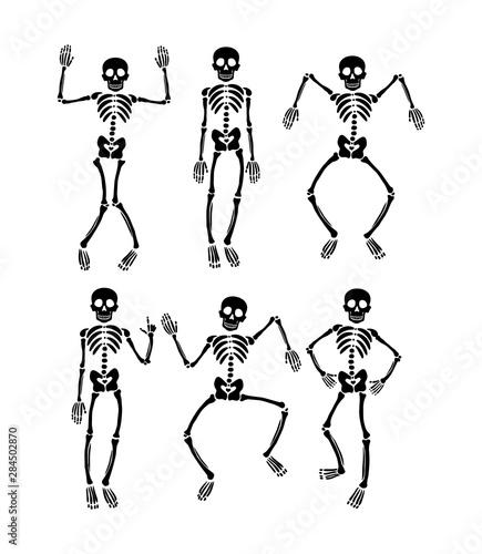 Cuadros en Lienzo Set of dancing skeletons
