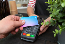Customer Making Wireless Or Contactless Payment Using Credit Card
