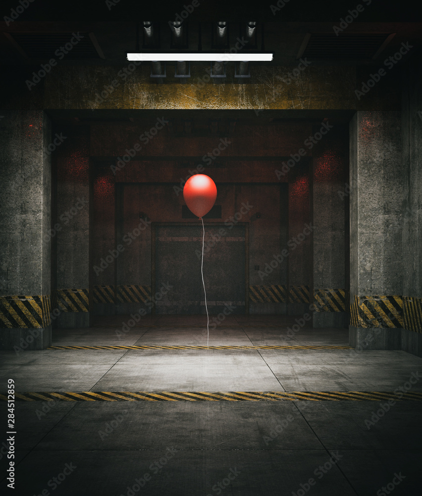 Fototapety, obrazy: Red balloon in restricted area,3d illustration