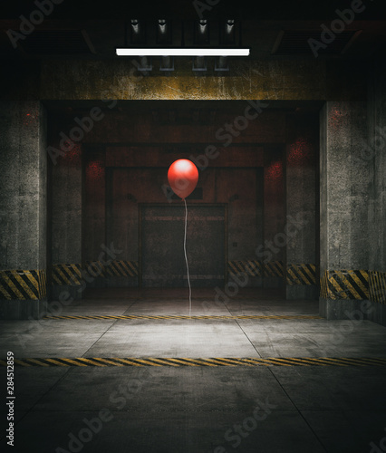 Pinturas sobre lienzo  Red balloon in restricted area,3d illustration