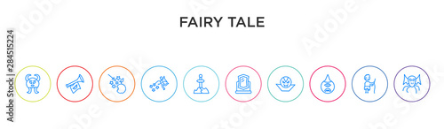 fairy tale concept 10 outline colorful icons Wallpaper Mural