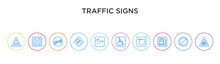 Traffic Signs Concept 10 Outline Colorful Icons