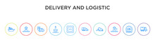 Delivery And Logistic Concept 10 Outline Colorful Icons