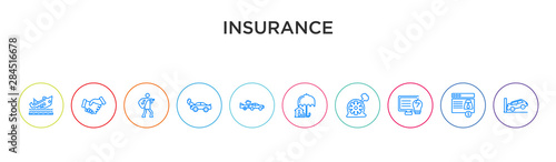 Photo  insurance concept 10 outline colorful icons