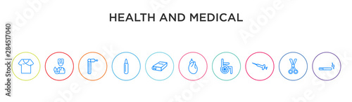 Photo health and medical concept 10 outline colorful icons
