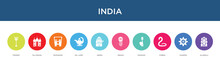 India Concept 10 Colorful Icons