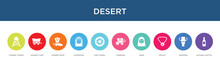 Desert Concept 10 Colorful Icons