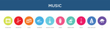 Music Concept 10 Colorful Icons