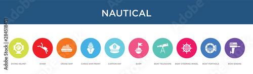 Pinturas sobre lienzo  nautical concept 10 colorful icons