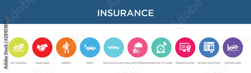 insurance concept 10 colorful icons Wallpaper Mural