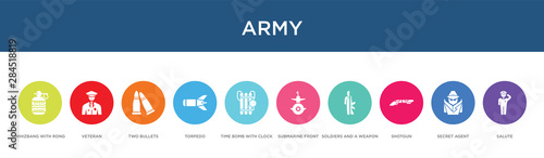Photo  army concept 10 colorful icons