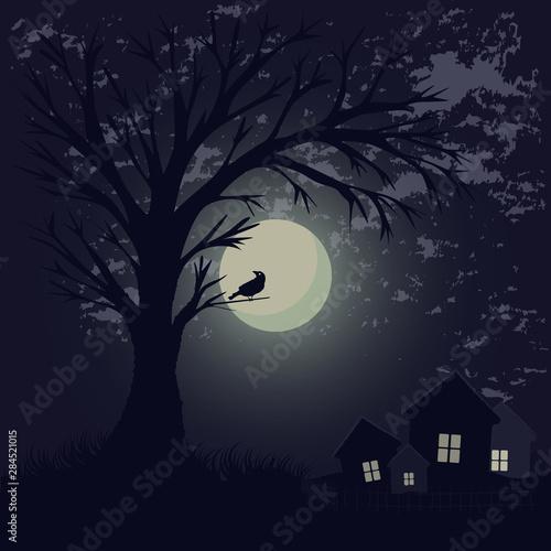 Canvas Print Illustration of a moonlit night