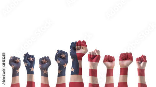Labor day celebration concept with USA national flag on American people clenched Canvas Print