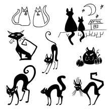 Black Cat Set. Cats On The Roof Of The House. Cat With Pumpkin For Halloween. Collection Of Silhouettes. Vector Icons, Decorating Elements, Sticker.
