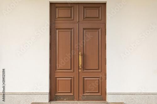 Fototapeta Brown wooden doubled-up door texture obraz
