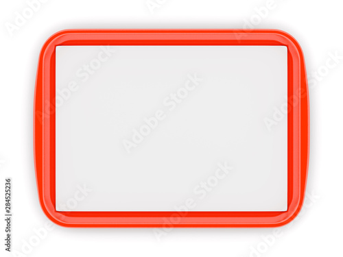 Red plastic food tray with empty liner Fototapeta