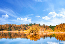 Autumn Lake Scenery With Color...