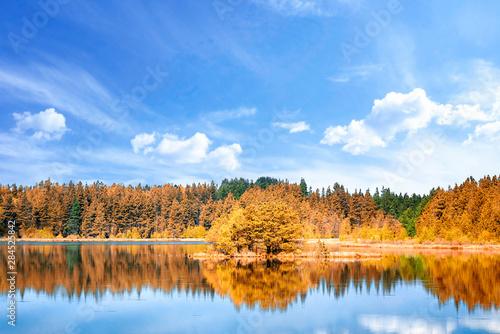 Fotografia  Autumn lake scenery with colorful trees