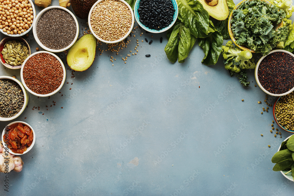 Fototapety, obrazy: Overview view of set of healthy food clean eating vegetable, seeds, superfood, cereal, leaf and vegetables