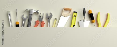 Foto Various Hand  tools. 3d illustration