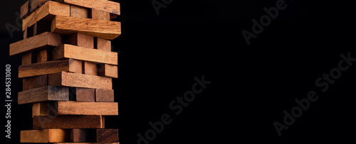 Fotografie, Tablou business organize  management strategy ideas concept wood stack block tower arra