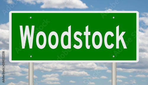 Fotografía  Rendering of a green highway sign for Woodstock Vermont